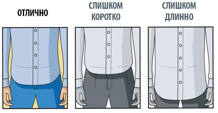 правильная длина мужской рубашки