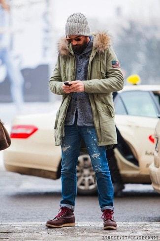 Мужские рваные джинсы 21