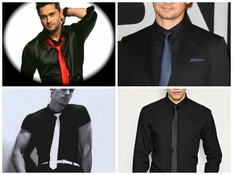 подобрать галстук к черной рубашке