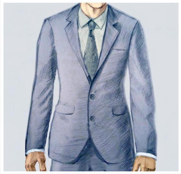 Мужской классический костюм с двумя пуговицами