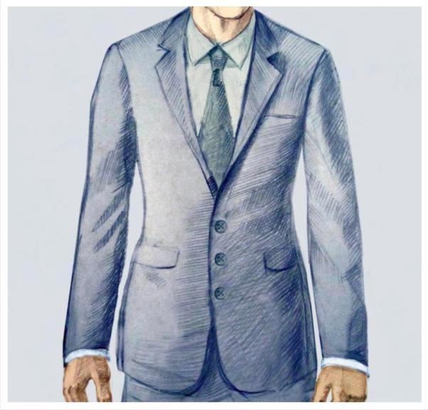 Мужской костюм с тремя пуговицами